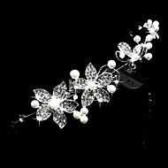 Femei Perle / Cristal / Aliaj Diadema-Nuntă / Ocazie specială / Exterior Tiare / Cordeluțe / Flori / Lănțișor de cap 1 Bucată Alb