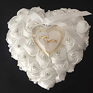 Lace Heart Shape With Rose and Bow Ring Box Pillow for Wedding(More Colors)(26*26*14cm)
