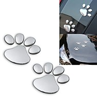 ZIQIAO 2pcs/ Lot Stylish Silver Funny Bear Paw Pet Animal Footprint Emblem 3D Car Stickers Auto Accessories