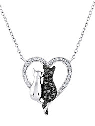 HUALUO®Fashion love black and white cat necklace Ms. clavicle chain necklace