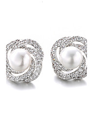 Stud Earrings Fashion Pearl Imitation Pearl Zircon Cubic Zirconia Platinum Plated Jewelry For 2pcs