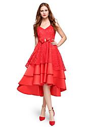 097b00d3f444 Κοκτέιλ Πάρτι Φόρεμα Βραδινή τουαλέτα Λαιμόκοψη V Ασύμμετρο Δαντέλα   Σατέν  με Φιόγκος(οι)