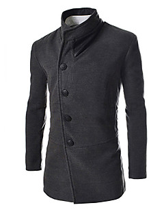 Men's Solid Casual Coat,Others Long Sleeve-Black / Gray