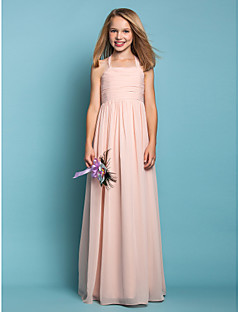 Lanting Bride Floor-length Chiffon Junior Bridesmaid Dress Sheath / Column Halter Natural with Ruching