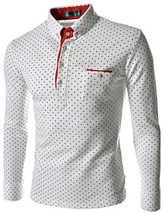 Men's Casual/Daily Work Formal Plus Size Simple Spring Fall Shirt,Print Plaid Button Down Collar Long Sleeve Cotton Polyester