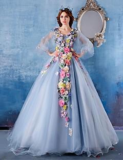 22d48fc1886 Επίσημο Βραδινό Φόρεμα Βραδινή τουαλέτα Λαιμόκοψη V Μακριά ουρά Σατέν /  Τούλι με Λουλούδι(α
