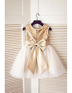 Flower Girl Dress A-line Knee-length - Tulle / Sequined Sleeveless Jewel with Bow(s) / Sequins