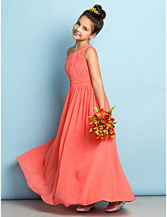 Lanting Bride Ankle-length Chiffon Junior Bridesmaid Dress - Mini Me A-line One Shoulder with Side Draping
