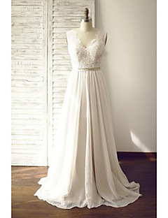 A-line Wedding Dress - Chic & Modern Wedding Dress in Color See-Through Court Train V-neck Chiffon Lace with Button Lace Sash / Ribbon