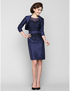 Lanting Bride Sheath / Column Mother of the Bride Dress Knee-length 3/4 Length Sleeve Taffeta with Appliques