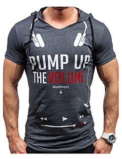 Men's Print Casual / Sport T-Shirt,Cotton Short Sleeve-Gray