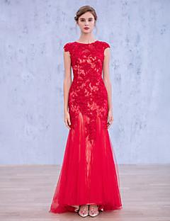 42889a1b0a96 Επίσημο Βραδινό Φόρεμα Τρομπέτα   Γοργόνα Με Κόσμημα Μακρύ Δαντέλα   Τούλι  με Διακοσμητικά Επιράμματα
