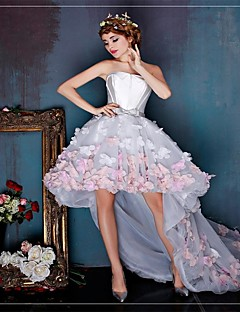 612e913bf39 Κοκτέιλ Πάρτι Φόρεμα Βραδινή τουαλέτα Στράπλες Ασύμμετρο Τούλι με Λουλούδι (α)