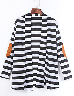 Women's Trench Coat,Striped / Patchwork Asymmetrical Long Sleeve Fall Black Cotton Opaque
