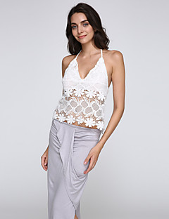 Women's Lace Sexy/Bodycon/Beach/Casual/Lace/Party Micro-elastic Sleeveless A Set (Lace/Cotton)