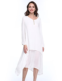 55b774cccc5bb Kadın Günlük/Sade Sade Çin Stili Salaş Çan Elbise Solid,Uzun Kollu V Yaka