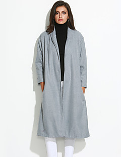 Women's Coat,Solid Shirt Collar Long Sleeve Winter Gray Wool Opaque